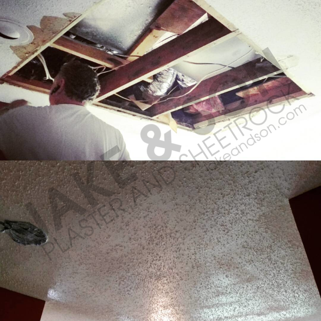 Popcorn ceiling repair (before and after)