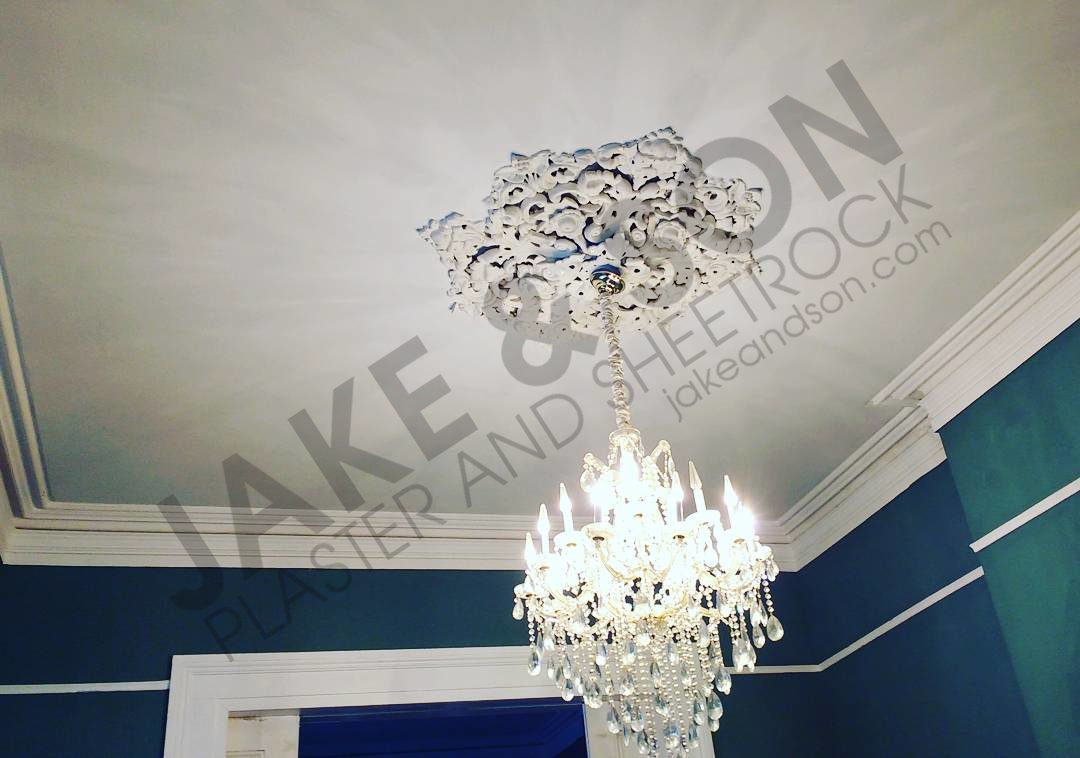 Completed plastered ceiling. Textured and painted
